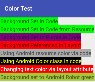 how to set a color in android tek eye