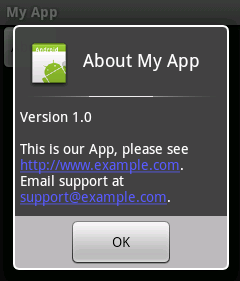About Box in Android App Using AlertBuilder | Tek EyeAndroid About Box