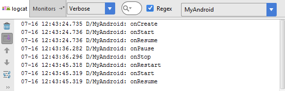 The layout file for an Android Activity loaded into Android Studio