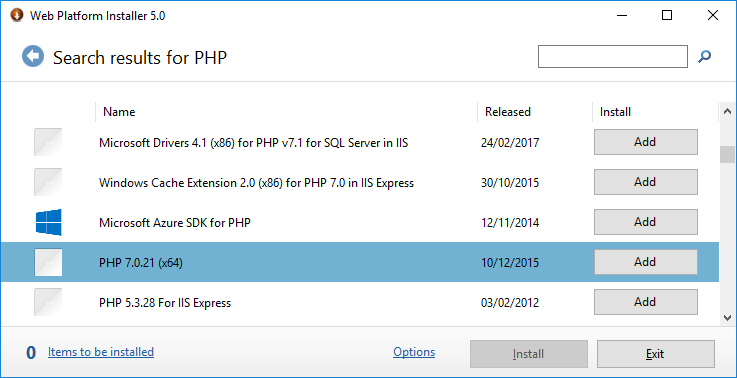 Install PHP in WebPI